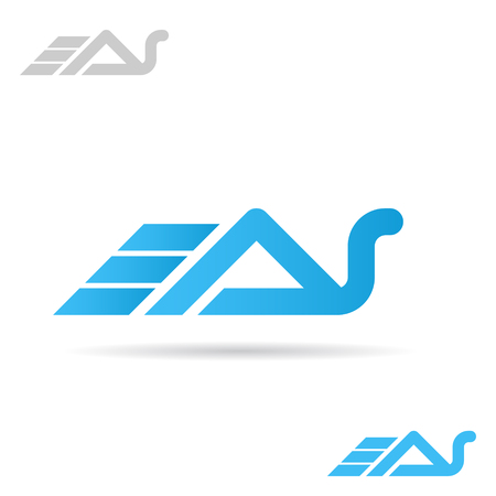 A and S letters, snail shape, 2d vector icon