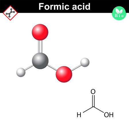 Formic acid molecular formula, 2d and 3d vector illustration, isolated on white background