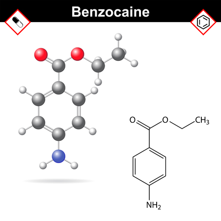 structural: Benzocaine - local anesthetic drug, structural chemical formula and molecular model, 2d and 3d vector illustration