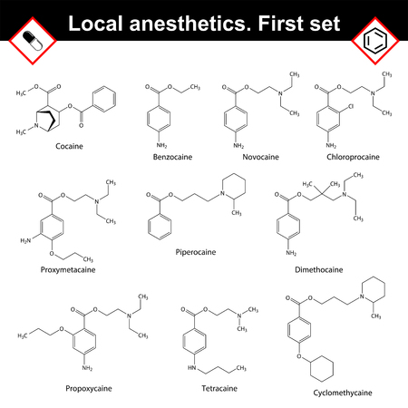 Local anesthetics of ester group, medical drugs formulas, 2d vector illustration, isolated on white background 矢量图像