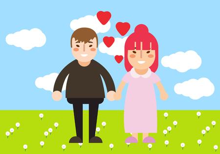 Couple walking in green field, cartoon illustration.