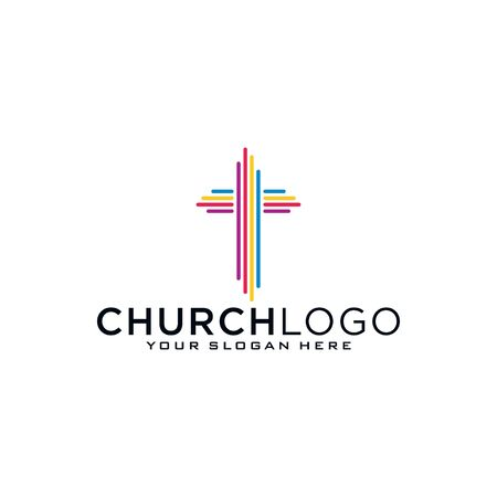 Church logo. Christian symbols. The Bible, the cross of Jesus and the Holy Spirit