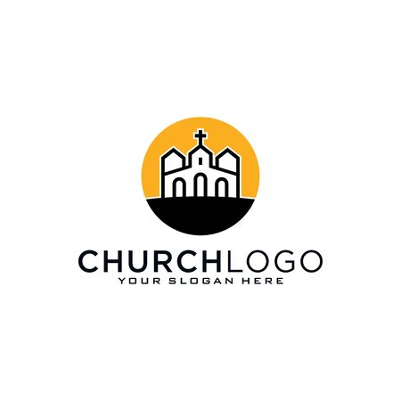 Church logo. Christian symbols. The Bible, the cross of Jesus and the Holy Spirit Illustration