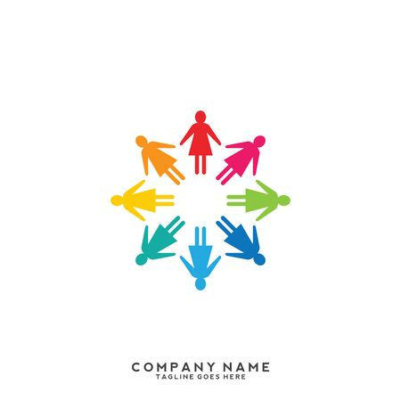 People, community, creative hub, social connection icons and logo Illustration