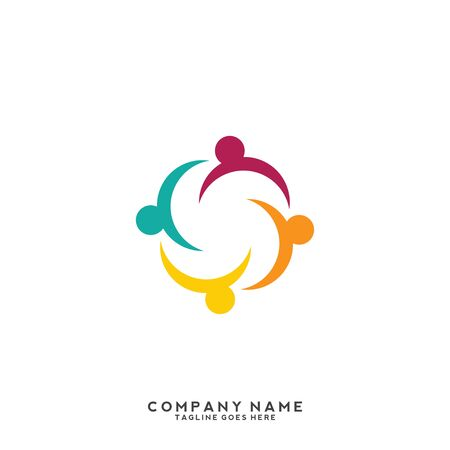 People, community, creative hub, social connection icons and logo
