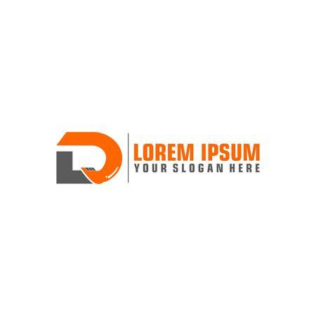 D Letter Logo Design with Excavator Creative Modern Trendy Logo