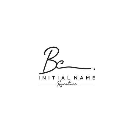 Letter BC Signature Logo Template Vector