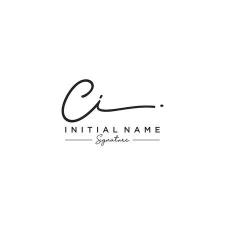 Letter CI Signature Logo Template Vector Illusztráció