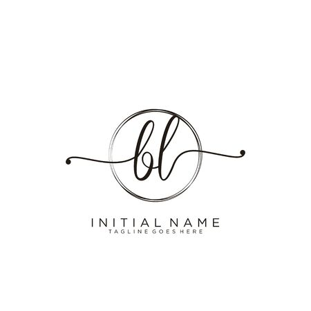 BL Initial handwriting logo with circle template vector.