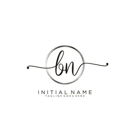 BN Initial handwriting logo with circle template vector. Logó