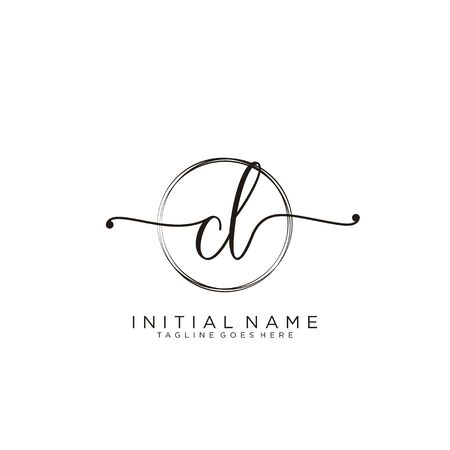 CL Initial handwriting logo with circle template vector.
