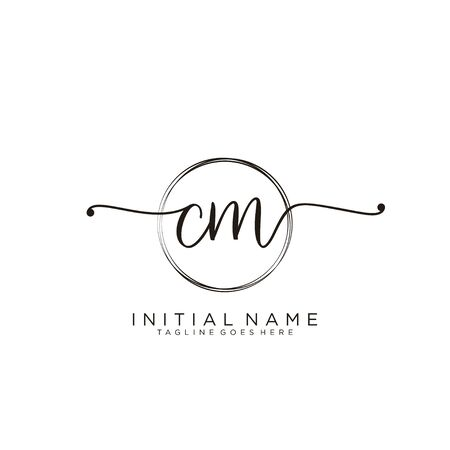 CM Initial handwriting logo with circle template vector.
