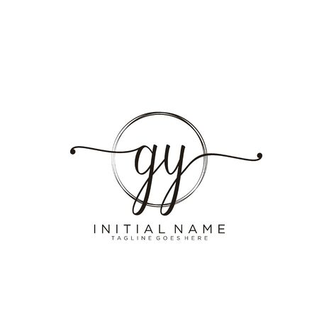 GY Initial handwriting logo with circle template vector.