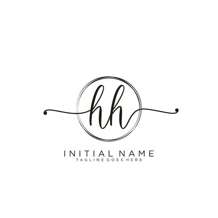 HH Initial handwriting logo with circle template vector.