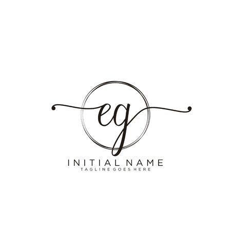 EG Initial handwriting logo with circle template vector.