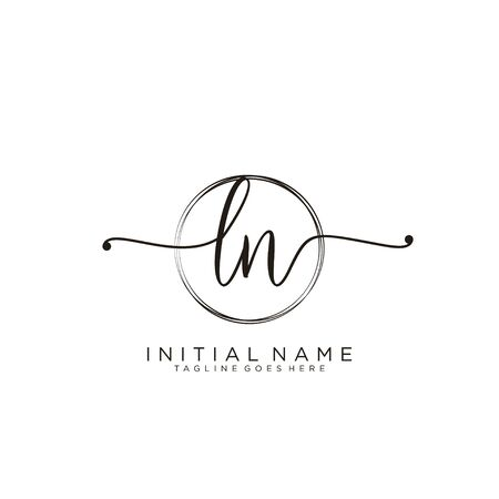 LN Initial handwriting logo with circle template vector.