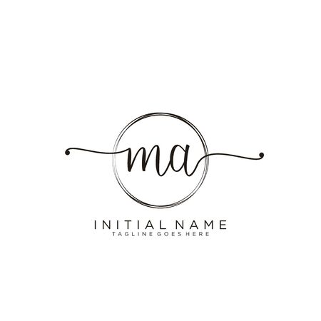 MA Initial handwriting logo with circle template vector.