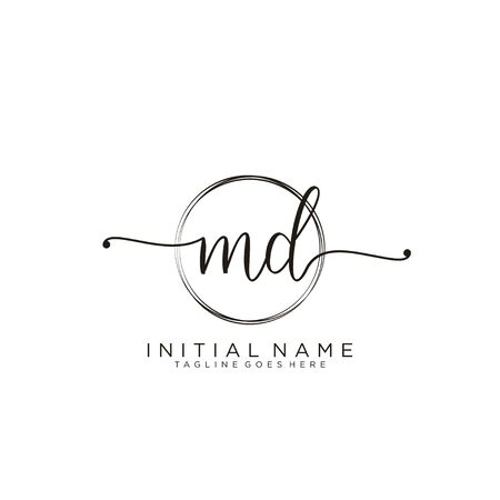 MD Initial handwriting logo with circle template vector.