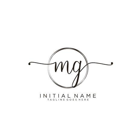MG Initial handwriting logo with circle template vector.
