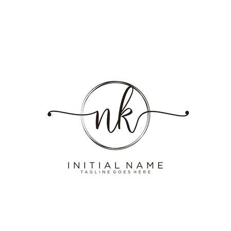 NK Initial handwriting logo with circle template vector.