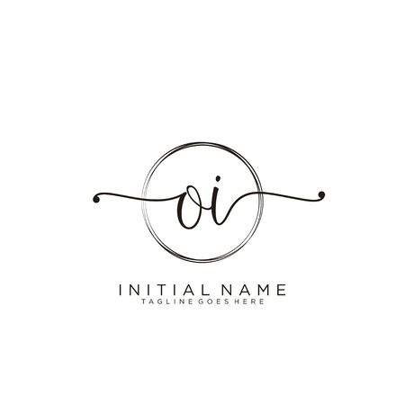OI Initial handwriting logo with circle template vector.
