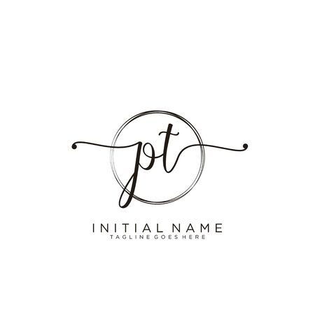 PT Initial handwriting logo with circle template vector.