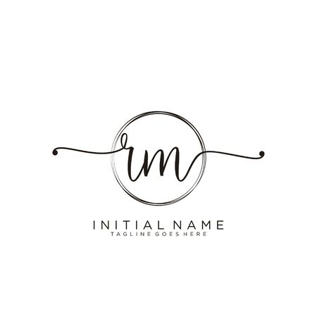 RM Initial handwriting logo with circle template vector.