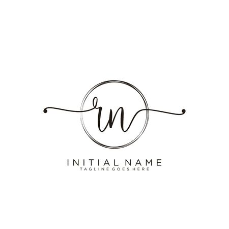 RN Initial handwriting logo with circle template vector.