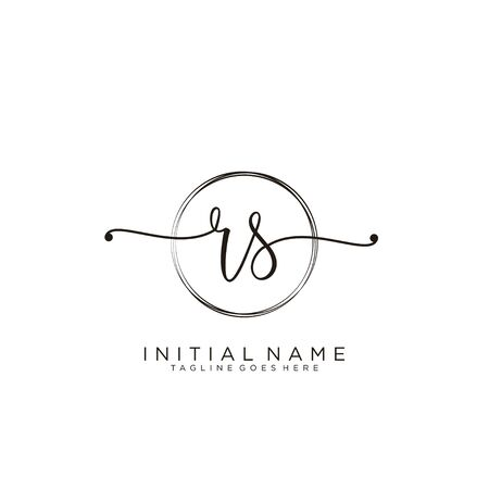 RS Initial handwriting logo with circle template vector. Logo
