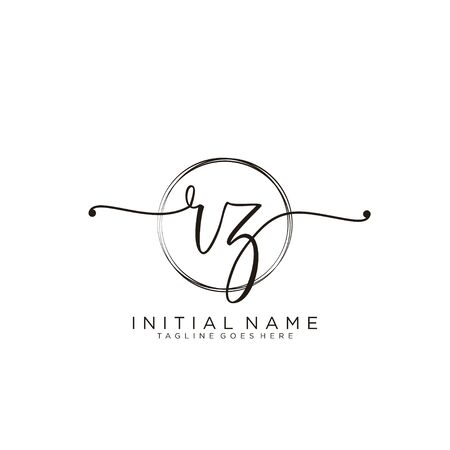 RZ Initial handwriting logo with circle template vector.