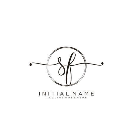 SF Initial handwriting logo with circle template vector.