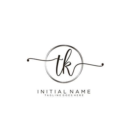 TK Initial handwriting logo with circle template vector.