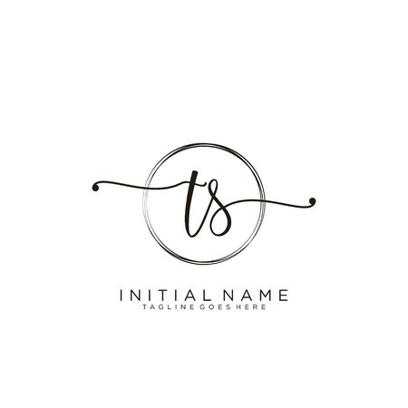 TS Initial handwriting logo with circle template vector.