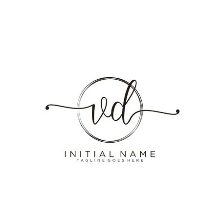 VD Initial handwriting logo with circle template vector. Logó