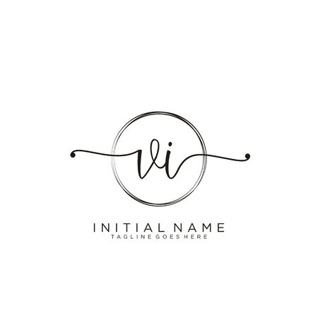 VI Initial handwriting logo with circle template vector.