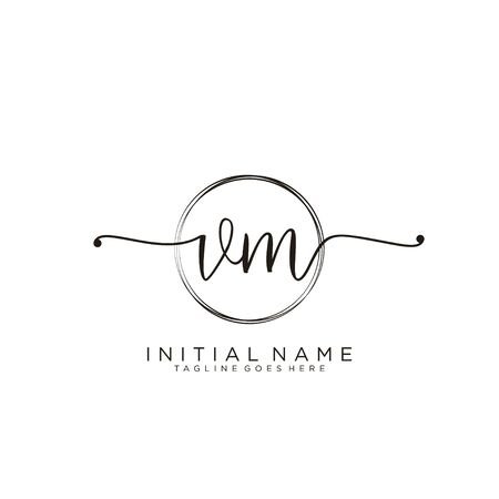 VM Initial handwriting logo with circle template vector.