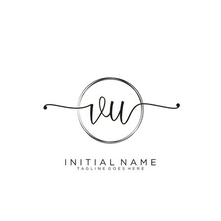 VU Initial handwriting logo with circle template vector.