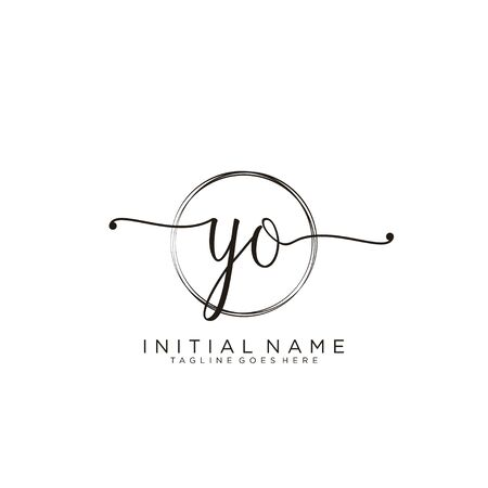 YO Initial handwriting logo with circle template vector.
