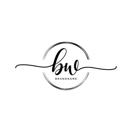 BW Initial handwriting logo with circle Logo
