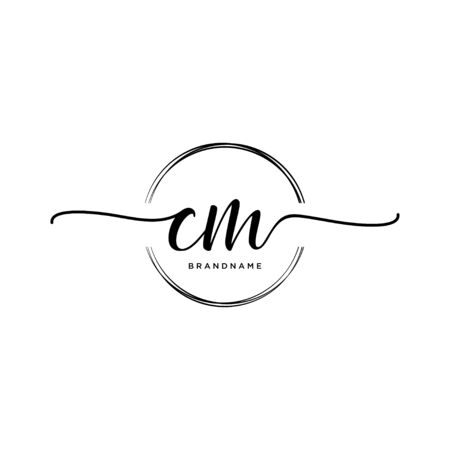 CM Initial handwriting with circle Illustration
