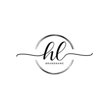 HL Initial handwriting logo with circle