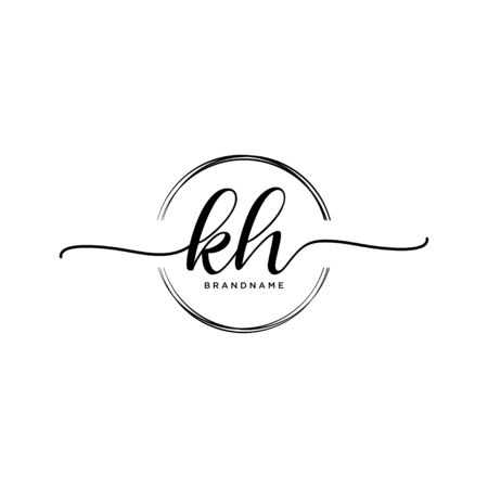 KH Initial handwriting logo with circle Ilustrace