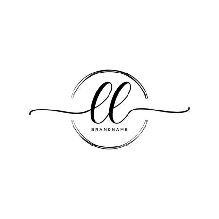 LL Initial handwriting logo with circle