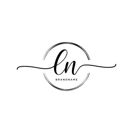 LN Initial handwriting logo with circle
