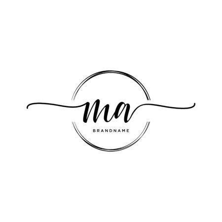 MA Initial handwriting logo with circle