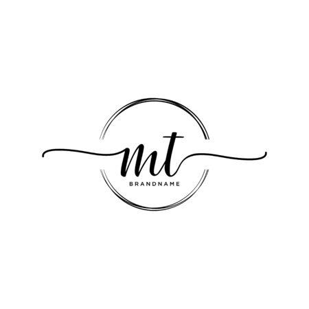 MT Initial handwriting logo with circle
