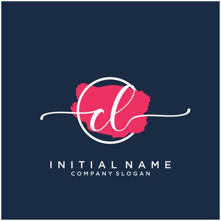 CL Initial handwriting logo design with brush circle Logó