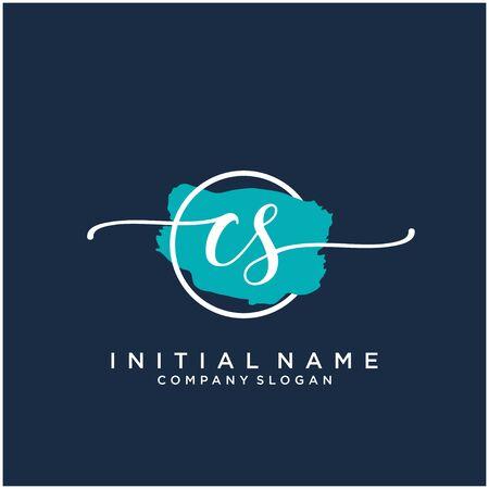 CS Initial handwriting logo design with brush circle