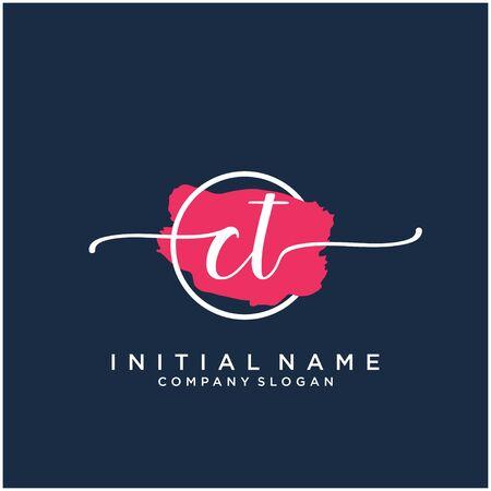 CT Initial handwriting logo design with brush circle