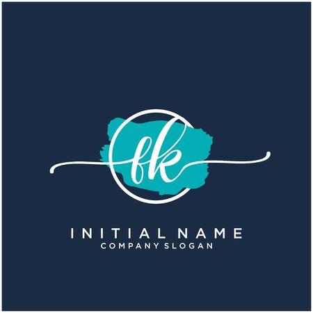 FK Initial handwriting logo design with brush circle